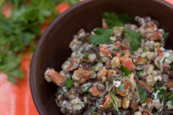 up close lentil salad