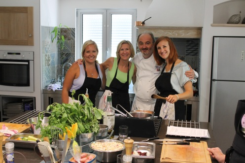 group at cooking class